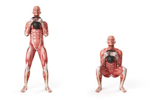 ejercicios pesa rusa sentadilla