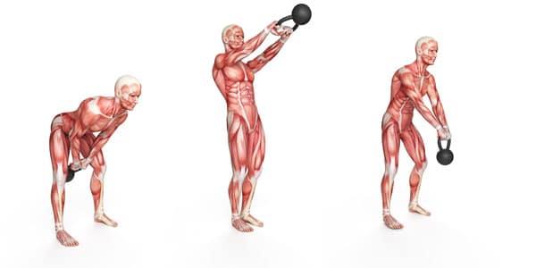 ejercicios pesas rusas columpio lateral