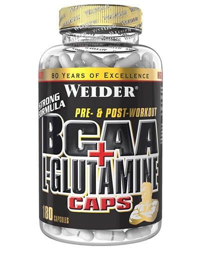Weider BCAA+L-Glutamine 180 capsulas aminoacidos