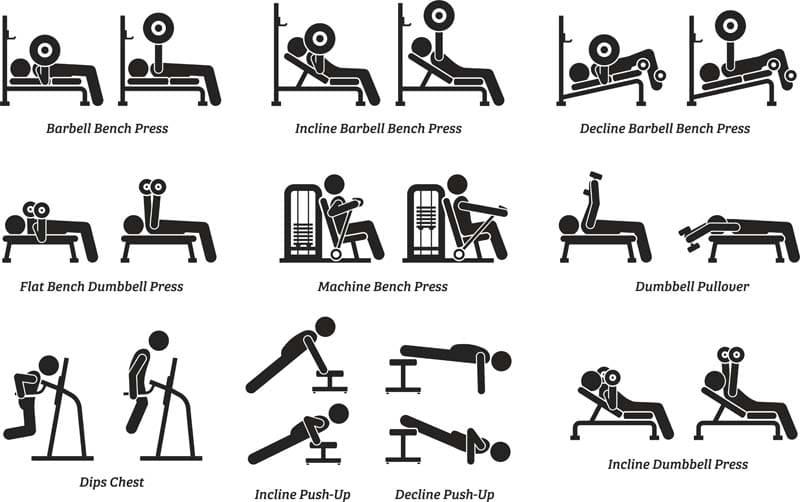 ejercicios press banca en banco de musculacion