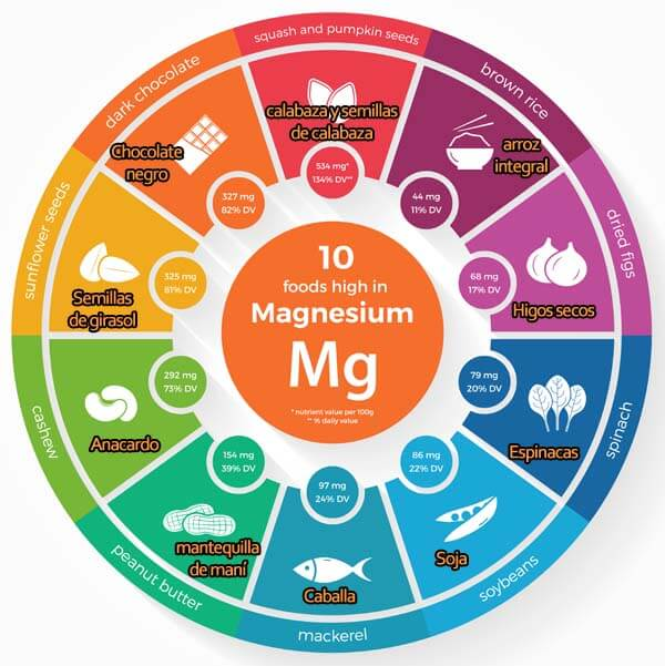 rueda de alimentos que contienen magnesio