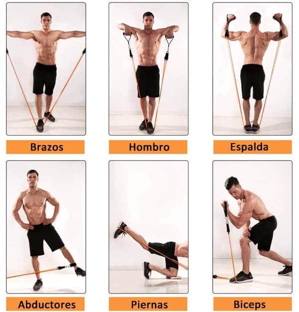 tipos de ejercicio con elasticos