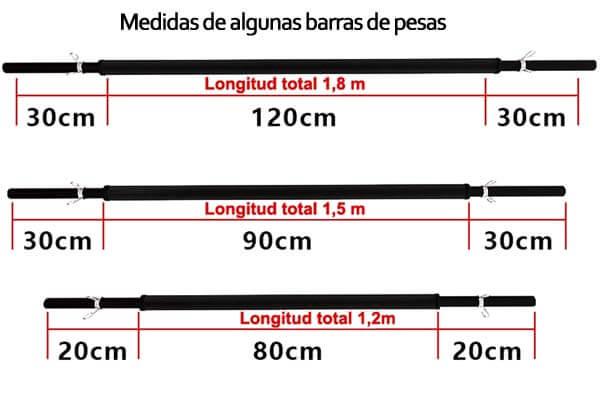medidas de barra para pesa