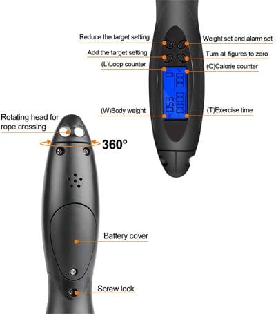 contador digital cuerda de saltar integrado