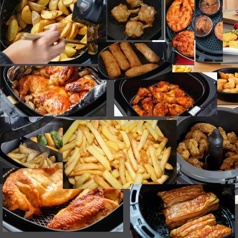 Aspecto de comidas en freidoras sin aceite